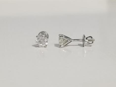 18K White Gold 1 Carat tw Diamond Studs Earrings