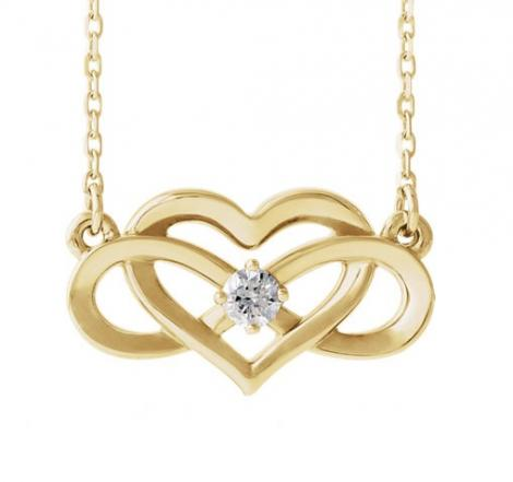 14K Yellow Gold 1/10 CTW - Diamond Infinity-Inspired Heart Necklace